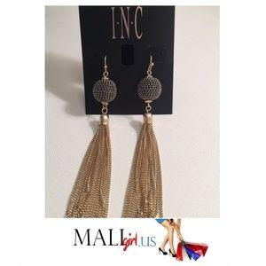 INC  Shimmer bead & chain tassel drop earrings